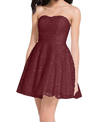 Linie Spitze Kurzes Rock Mini Abendkleider Braut Marie Promkleider Tanzenkleider Cocktailkleider Burgundy La A wfvTOf
