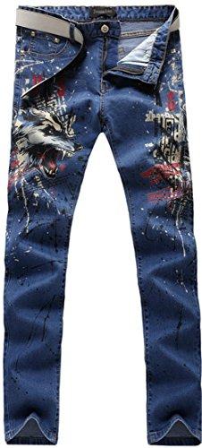 Stampa Sottile Uomini Blue Uomo Casual Denim Tendenze Jeans Jeansian Pantaloni Moda qBXZXwUa