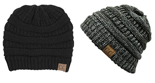 1b8054553c3 Galleon - BYSUMMER C.C Warm Soft Cable Knit Skull Cap Slouchy Beanie Winter  Hat (2pcs Set Black 4tone 22)