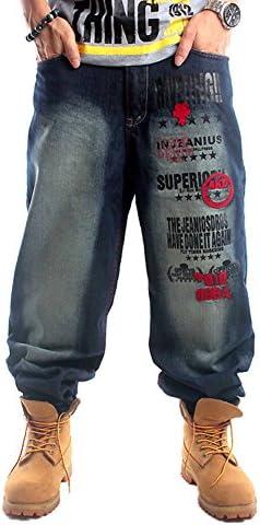 メンズ デニムパンツ ゆったり バギーパンツ ボトムス 極太 カーゴパンツ 大きいサイズ ヒップホップ 刺繍 プリント ストリート系 KZ-6002