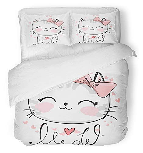 - Emvency 3 Piece Duvet Cover Set Breathable Brushed Microfiber Fabric Pink Graphic Cute Cat Sketch Children Girl with Text Meow Face Kitten Adorable Bedding Set with 2 Pillow Covers Full/Queen Size