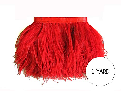 Mardi Gras Jewelry Wholesale (Moonlight Feather | 1 Yard - Red Ostrich Fringe Trim Wholesale Feather (Bulk) Wholesale Mardi Gras, Costume, Carnival, Jewelry Making)