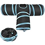 CIOGO Collapsible Pet Cat Tunnel Premium 3 Way Cat Tunnel - Tube Fun for Rabbits, Kittens, and Dogs (T Shape Blue)
