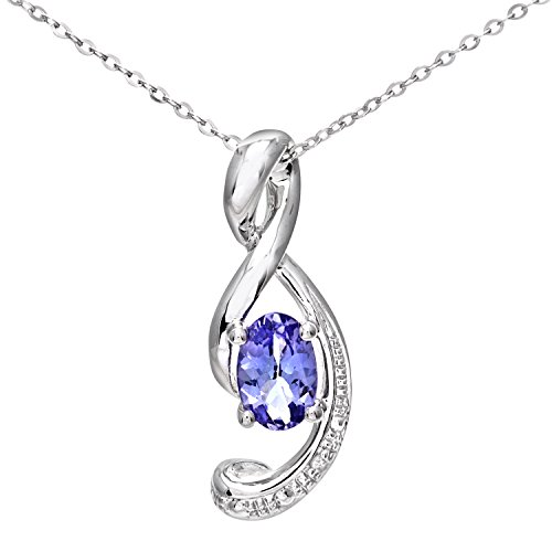 Naava Collier Femme - Or Blanc 375/1000 (9 Cts) 0.7 Gr - Diamant / Tanzanite 0.005 Cts