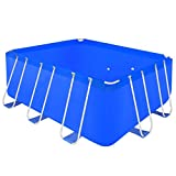 Festnight Pro Steel Frame Above Ground Swimming Pool Set Rectangular 13' 1'' x 6' 9'' x 4' ,Blue