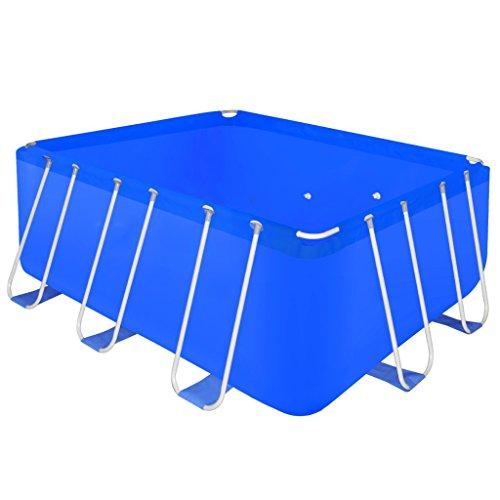 Festnight Pro Steel Frame Above Ground Swimming Pool Set Rectangular 13' 1