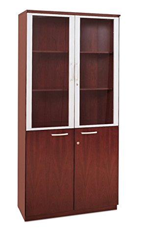 Mayline VHCCRY Napoli High Wall Cabinet with Doors, Sierra Cherry Veneer