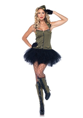 [Leg Avenue 2 Piece Use Girl Tutu Halter Dress With Badge Accents And Hat, Olive/Black, Small/Medium] (Uso Girl Costume)