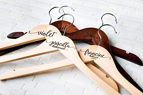 (6 Wedding Dress Hangers Personalized Calligraphy Bride Bridesmaid Gift for the Couple Matron Maid of Honor Engraved Wood Quick)