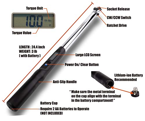 Summit Tools Digital Torque Wrench with 1/2-inch Square Driver and 12.5-250.7 ft-lbs Torque Range, 0.1 ft-lb Res. with Tolerance of ±3%, Peak Hold Feature, Certificate of Calibration (ES4-340CN) by Summit Tools (Image #2)