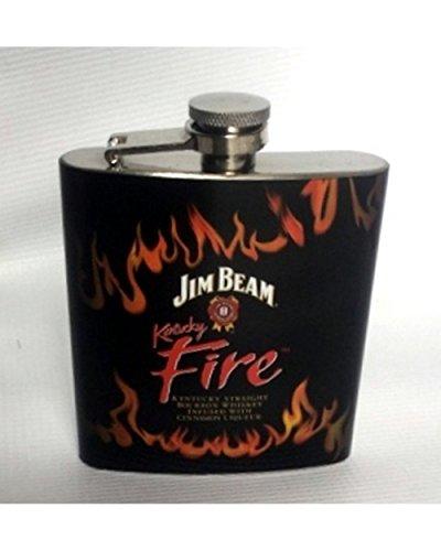 Jim Beam Whisky Flask Kentucky Fire Stainless Steel