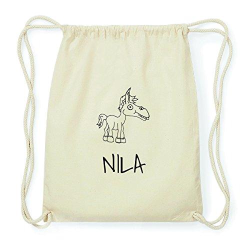 JOllipets NILA Hipster Turnbeutel Tasche Rucksack aus Baumwolle Design: Pferd