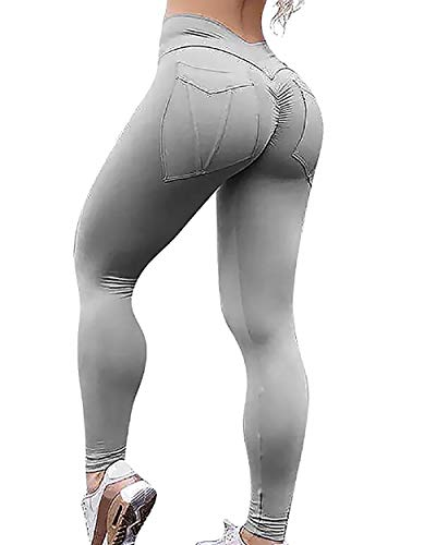 MOOSLOVER Women's Ruched Butt Lifting Pocket Leggings High Waisted Workout Yoga ()