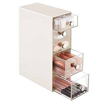 mDesign Plastic Cosmetic Storage Organizer for Bathroom Vanity, Cabinet, Counters - Holds Lip Gloss, Eyeshadow Palettes… - ORGANIZATION MADE EASY: This storage unit provides plenty of space to store and organize your beauty essentials and go-to products; Store magnetic eyelashes, curlers, tweezers, lipstick, lip pencils, lip liner, eye shadows, eye liner, contour palettes, kits, blush palettes, face powder, lip balm, blenders, barrettes and hair combs; Keep nail polish and accessories neatly contained; Face creams, sheet masks and more can all be organized keeping your vanity or bathroom counter tops neat and tidy SPACE SAVING: The organizer takes very little space on a bathroom vanity, dressing table, countertop or dresser; Use more than one and line them up side by side to create a large cosmetic storage station; Chrome knobs make opening and closing drawers simple - quickly grab what you need; Drawer organizers are convenient and useful for keeping clutter under control, and the uses are endless FUNCTIONAL & VERSATILE: Works well on makeup tables, vanities, table tops, counters, in cabinets, pantry and more; These are great for other rooms in your home - try them in the bedroom, office, laundry room, kitchen, craft room, playroom, garage and more; The compact size and multiple drawer compartments also make them great storage solutions for kids rooms, college dorm rooms, classrooms, apartments, RVs, campers and other small spaces; Ideal for men, women, tweens and teens - organizers, bathroom-accessories, bathroom - 41 HrdcnSBL. SS400  -