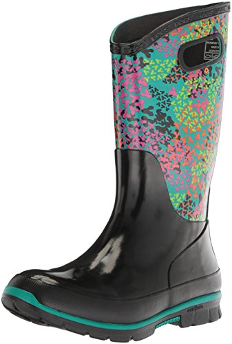 Bogs Women's Berkley Footprints Rain Boot, Black/Multi, 7 M US