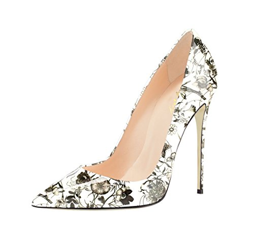 SexyPrey Women's Pointed Toe Stilettos Multi-color Graffiti Pumps Slip On High Heel Court Shoes B-Floral White tusQZ3obR