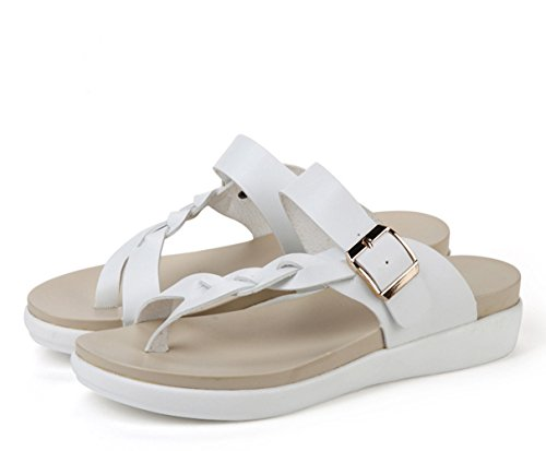 Minetom Women Summer Breathable Braid Buckle Clip Toe Sandals T-Strap Open-Toe Flip Flop Thongs Slippers Flat Shoes Beach White WPw5Wh