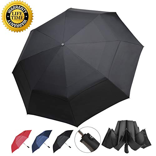 (Prodigen Inverted Folding Umbrella Travel Umbrella Windproof Compact Umbrella Inside Out Umbrella Reversible Reverse Umbrella Automatic Open and Close Umbrella for Woman & Man UV Sun & Rain)