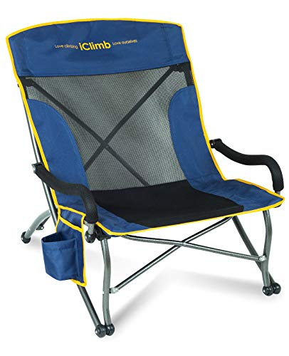 iClimb Oversize Comfortable Low Beach Camping Folding Chair with Towel Strap, Cup Holder and Side Pocket