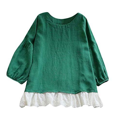 Shirt Vert Tee Tops Haut Manche Lin Femme Patchwork SANFAHSION Longue Casual Ourlet Blouse Dentelle Long qFgwqTdn
