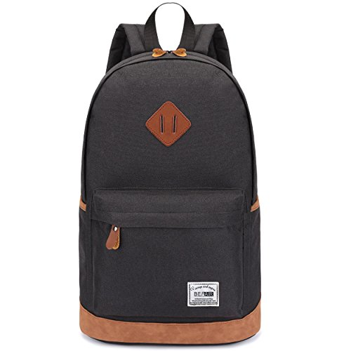 BEFAiR Lightweight Canvas Laptop Bag Vintage Bookbag Daypack Unisex School Backpack Black (Cute Gifts For Boyfriend Just Because)