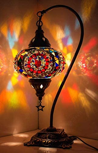 DEMMEX 2019 Turkish Moroccan Mosaic Table Lamp with US Plug Socket, Swan Neck Handmade Desk Bedside Table Night Lamp, Decorative Tiffany Lamp Light