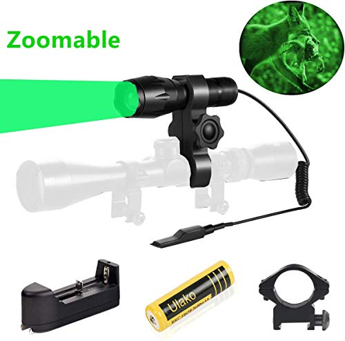 Ulako Green Light 350 Yards Spotlight Flood Light Zoomable Tactical Hunting Flashlight Torch for Hog Pig Coyote Varmint