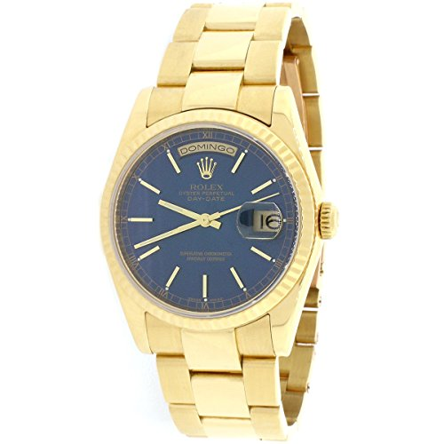 Rolex Day-Date 18K Yellow Gold Blue Dial 36MM Oyster Watch 118208 (Certified Pre-Owned)