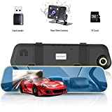 "4.3"" LCD HD 1080P Car Video Camera,VICTONY Dual Lens Car Camera with 170° Wide Angle Lens and Night Vision (Include 8G Micro SD Card) (Blue)"
