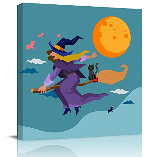 Canvas Wall Art Happy Halloween Flying Witch with