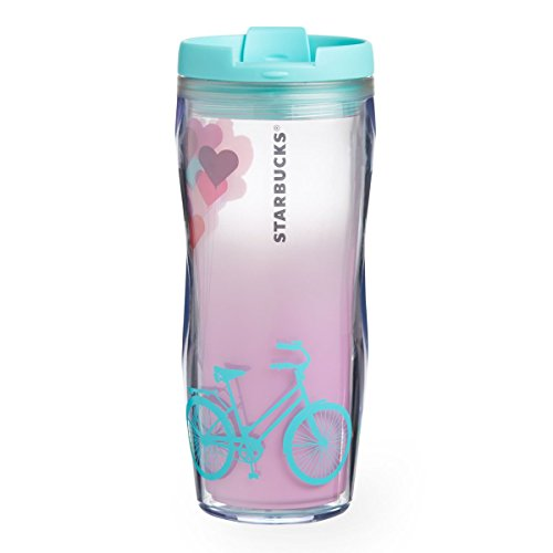 Starbucks Valentines Day Collection Acrylic Double-walled Tumbler Bicycle and Balloon Art 12 Oz (Valentines Tumbler Starbucks Day)