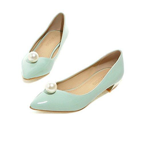 Allhqfashion Mujeres De Charol Pull-on Acentuados Cerrados Del Dedo Del Pie-bajo-talones Solid-pumps-Zapatos Green