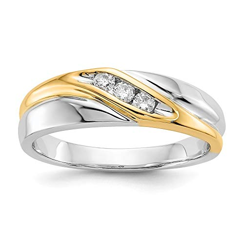 (14k Two Tone Yellow Gold Diamond Mens Band Ring Size 10.00 Man Fine Jewelry Gift For Dad Mens For Him)
