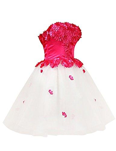 Dresstells Women's Handmade Flowers Strapless Short Tulle Dress Prom Evening Dress Size 2