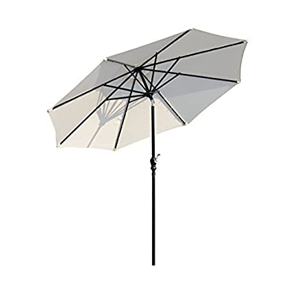 Outsunny 8.5u0027 Solar LED Market Patio Umbrella (Cream White)