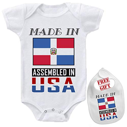 Made in Dominican Republic Assembeld in USA- Cutom Funny Novelty Cute Baby Bodysuit Onesie & bib Set