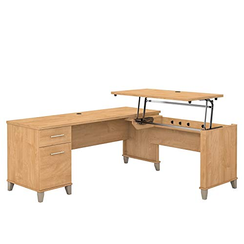 Bush Furniture Somerset 72W 3 Position Sit to Stand L Shaped Desk in Maple Cross