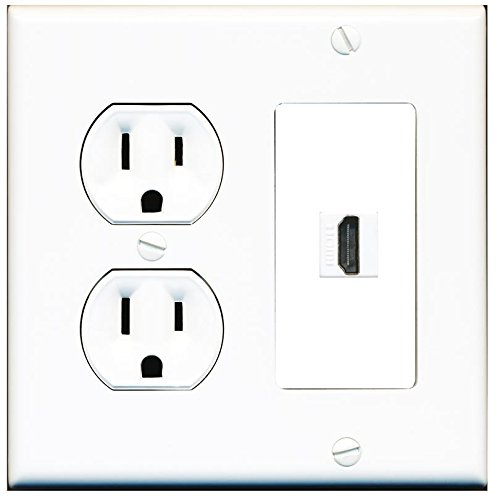 RiteAV (2 Gang Decorative) 15 Amp Round Power Outlet HDMI TV Wall Plate - - Plate Outlet Wall Power