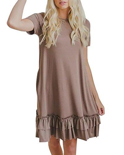 Youxiua Womens Summer Short Sleeve Ruffles Loose Fitting Swing T Shirt Plain Mini Dress with Pockets