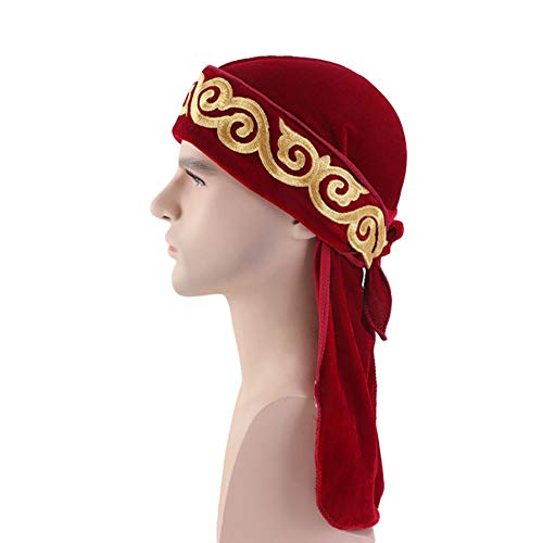 Unisex Velvet Durag Flame Embroidery Turban Cap Extra Long-Tail Pirate Hat Hip hop Headwraps Headwear for Men Women,Wine Red