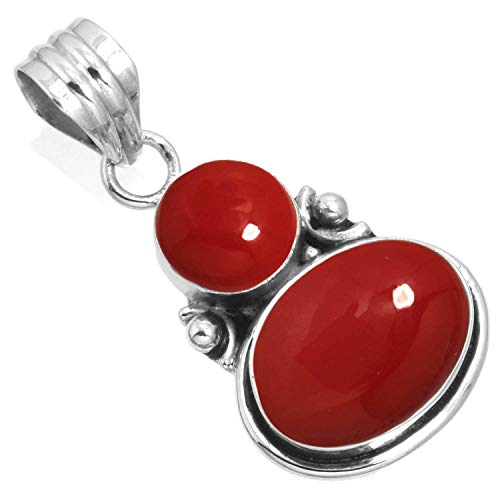 925 Sterling Silver Pendant Red Stone Handmade Jewelry