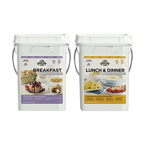 Augason Farms Breakfast Lunch & Dinner Pail Combo Survival Food 254 Servings 17 Meal Varieties (Servings Emergency Food)