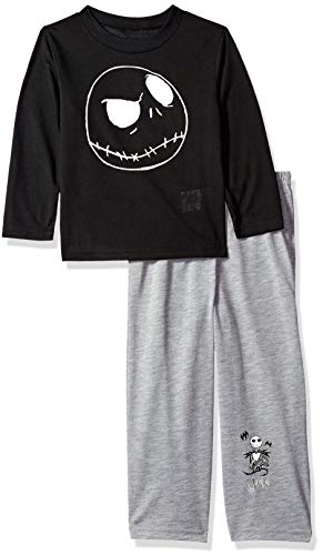 Disney Boys' Big Nightmare Before Christmas 2-Piece Pajama Set, Skellington Black, 8