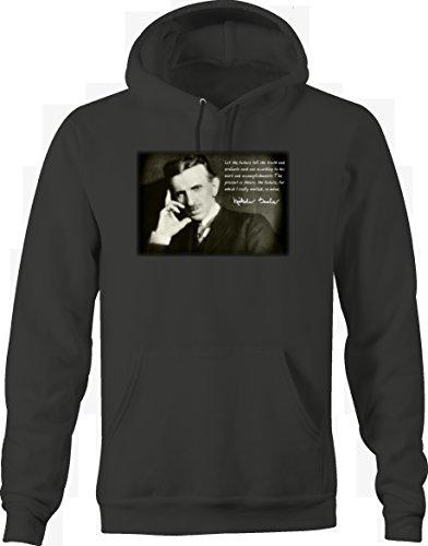 Nikola Tesla Future Tell the Truth Work Accomplishments Inventor Genius Sweatshirt - XLarge