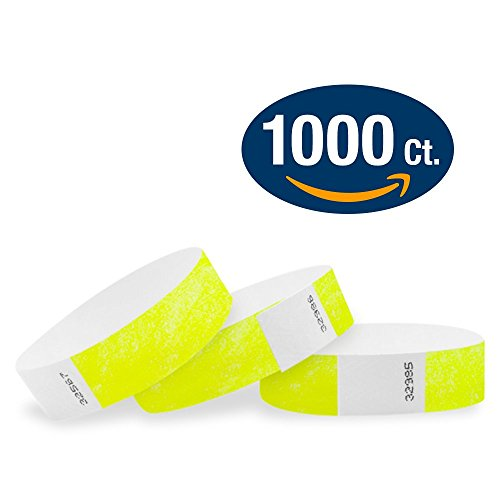 """WristCo Neon Yellow 3/4"""" Tyvek Wristbands - 1000 Pack Paper Wristbands For Events"""