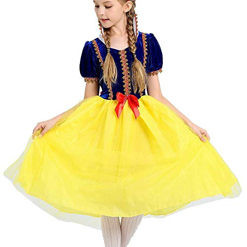 MOREMOO Girls Snow White Dress Princess Costume Party Gown Dress up(Yellow -