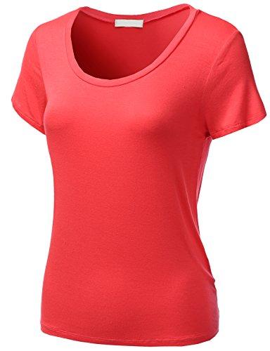 H2H Women's Short Sleeve Slim Fit Baseball Jersey Raglan T-Shirt Hotcoral US L/Asia L (AWTTS0341)