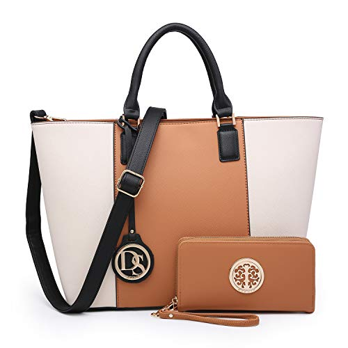 MMK collection Women Fashion Matching Satchel/ Tote handbags with wallet(6417)~Designer Purse with Wristlet Wallet(6417w-brown/Beige)