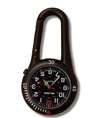Black Clip on Carabiner FOB Watch Ideal for Doctors Nurses Paramedics Chefs by Klox