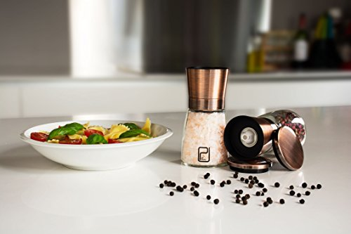 Premium-Salt-and-Pepper-Mill-Set-with-Stand-Copper-Stainless-Steel-Salt-and-Pepper-Shakers-Ceramic-Spice-Grinder-Adjustable-Coarseness-Salt-and-Pepper-Grinders-with-Magnetic-lid
